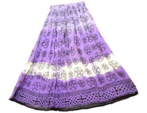 Pentagrams & Celtic Knots Wicca Pagan Purple Tie-Dye 100% Cotton Crinkle Skirt
