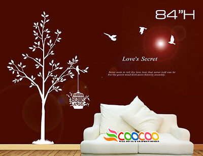 (Wall Decor Art Vinyl Removable Mural Decal Sticker Tree With Birds Cage 84