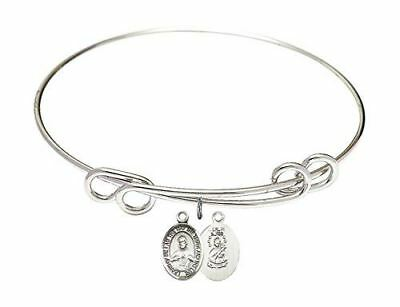 8 1/2 inch Round Double Loop Bangle Bracelet with a Scapular charm.