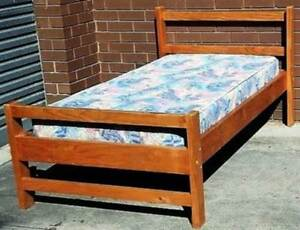 sturdy timber single bed frame and mattress Glen Waverley Monash Area Preview