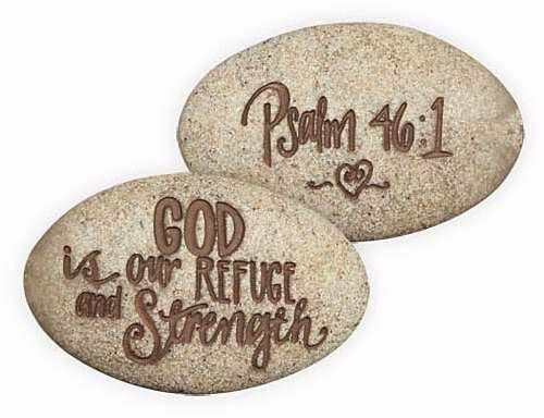 God Is Our Refuge And Strength Psalm 46:1 Pocket Stone (17125)NEW from AngelStar
