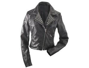 Harve Benard Women's Studded Motorcycle Jacket in Black - 3 XL