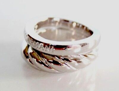 (EMPORIO ARMANI POLISHED STERLING SILVER FAUX STACK ring. eg2791.cheapest on ebay)