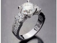5.68 tcw Round Cut 3 Stone H/SI Vintage CERTFIED Engagement Ring 18K WHITE Gold