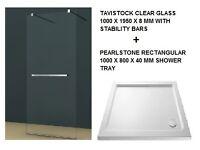 New Tavistock Clear Walk in Shower Front Panel + Pearlstone Rectangular 1000 x 800mm Shower Tray
