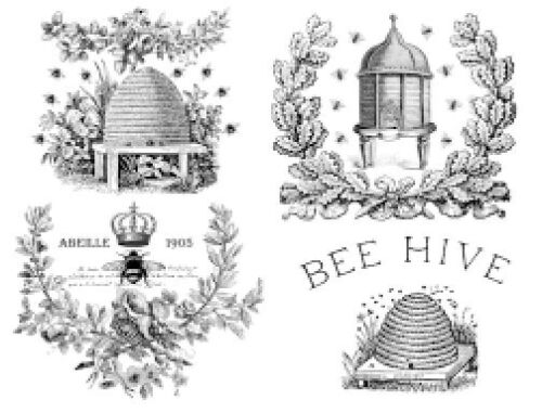 Vintage Bee Hive Honey Bees Labels Furniture Transfers Waterslide Decals MIS619
