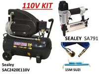 SEALEY SAC2420E110V COMPRESSOR DIRECT DRIVE NAILER & 15M HOSE KIT
