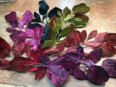 Vintage Millinery Leaves Made In Japan 1940's Rayon Velvet & Silk 1 Piece