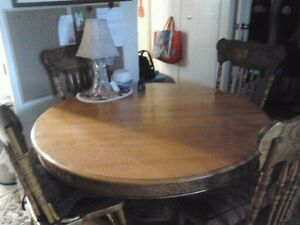 Oak Pedestal Table and 4 Highback chairs