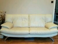 SECOND HAND CREAM LEATHER SOFA