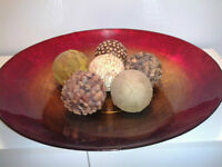 large decorative glass plate including decorative balls