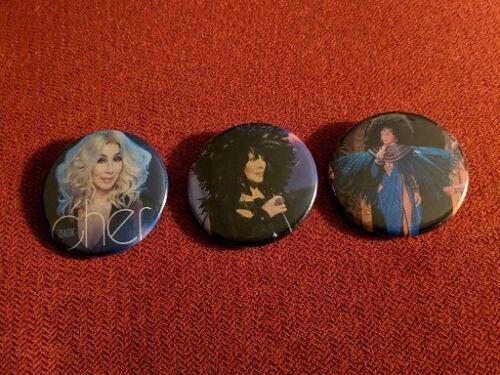 "Cher Park MGM Las Vegas 3 x 1.75"" pin-back buttons"