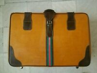 Genuine GUCCI Old Vintage Early 1950s Large Suitcase Web Design Luggage Bag