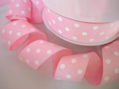 "50 yards Baby Pink/White Polka Dot Grosgrain 1.5"" Ribbon/Supply/Craft R20-K-Roll"