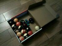 Full set of full size pool balls