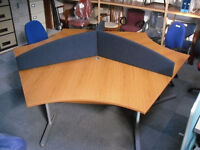 Three person partitioned office table and gas filled chairs
