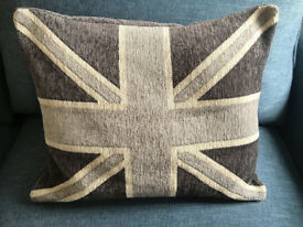 Grey Union Jack chenile throw cushion