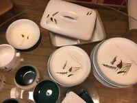 Selection of 1950's Denby 'GreenwheatStoneware' vintage dinnerware