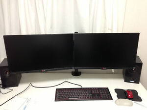 """Duel LG IPS 1920x1080p Monitors 24"""" and mount arm"""