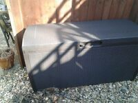 Keter Rattan Effect Garden Storage Box,Brown,265l,New,cost £60 sell for £30 ono,can deliver