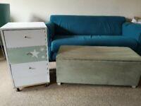 White cupboard and ottoman storage