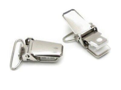 2/5/100 Stück 25mm  Hosenclip Schnullerkettenclip Clips Metall Hosenträgerclip  2,5 Mm Clip