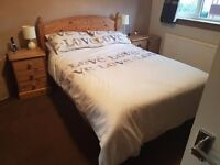 Solid wood bedroom set (bed, 2x bedside drawers & dressing table w. mirror & chair)