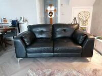 3&2 seater sofology black leather couch