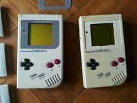 Two Nintendo Gameboy Original Black & White Display Plis Games & Case