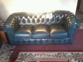 leather sofa , blue , exellent condition ,