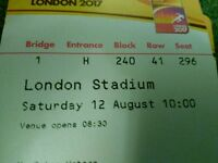 IAAF World Championships London 2017 6XAdult tickets.