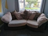 Brown scatter cushion sofa