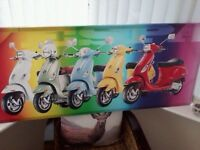 Canvas Large Print of Five Vespas in a row