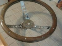 Teak and chrome steering wheel