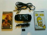 Sony PSP 2000 Slim Black Console Lot umds Tv lead GC!!