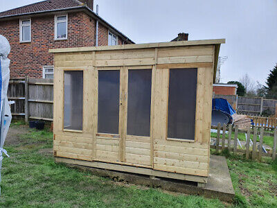 10 x 8 Pressure Treated Unique Curved Roof Garden Summerhouse Tongue and...