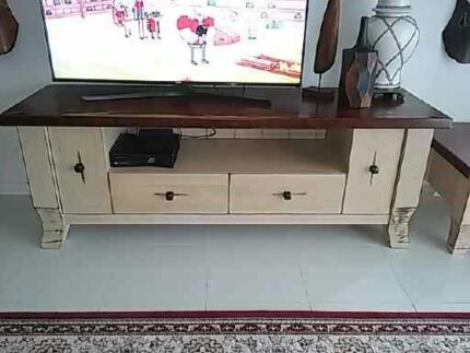Amazing French modern solid timber Entertainment Unit and lamp ta