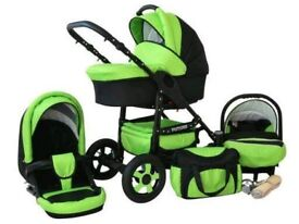 Pushchair 3 in 1 Green Colour