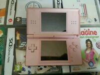 Nintendo ds lite with 8 games pink