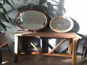 2 x ANTIQUE GOLD FRAME OVAL MIRRORS Stepney Norwood Area Preview