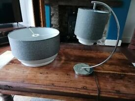 Grey tiered lamp and matching pendant light shade