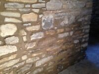 Stones from wall