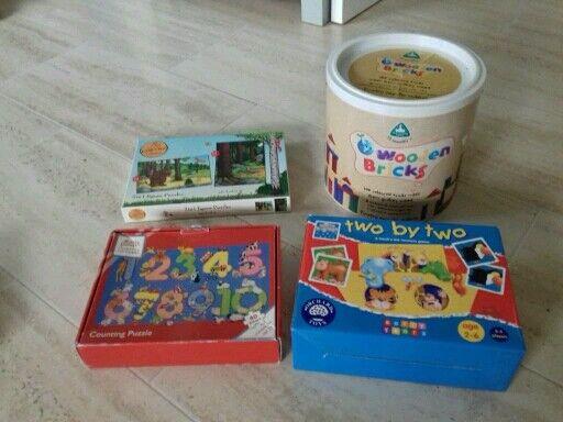 Toy bundle orchard toys, wooden bricks, jigsaws