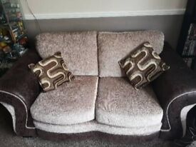 Two Seater Sofas mink and brown leather and fabric