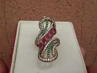 Anello In Argento 925 Stile Antico Rubini Smeraldi Zaffiri Brillanti -  - ebay.it