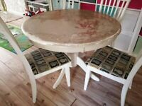 Vintage style dining table and 4 chairs