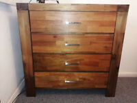 4 drawer bedroom chest - Acacia wood