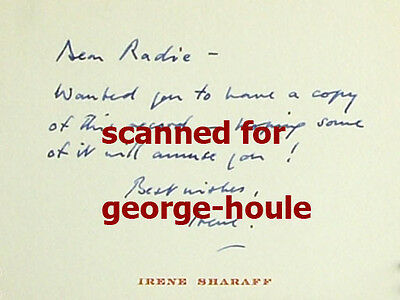 IRENE SHARAFF - CARD - SIGNED - RADIE HARRIS - COSTUME DESIGNER - AA](Harris Costume)