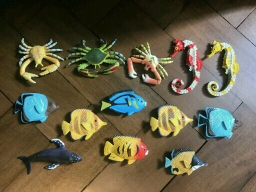 A bundle of children's tropical fish toys