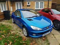 Peugeot 206cc 1.6 - 2005/55 reg, MOT 02/18, Leather seats, Folding roof in good working order.